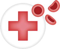 Icon with red cross and stylized cells