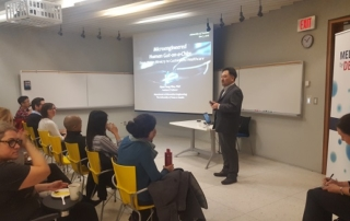 Hyun Jung Kim of the University of Texas at Austin delivers the first lecture in the Medicine by Design Speaker Series
