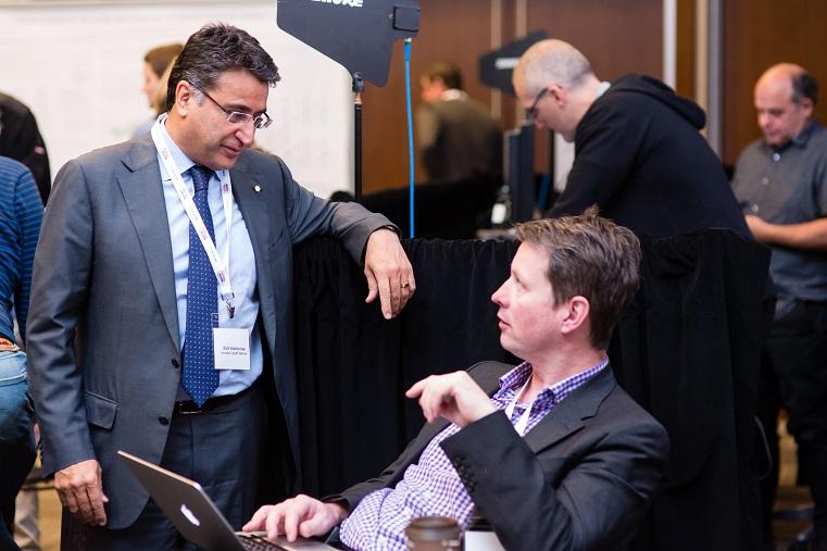 Dr. Shaf Keshavjee and Dr. Tom Waddell talk at the Medicine by Design symposium on Nov. 28, 2016