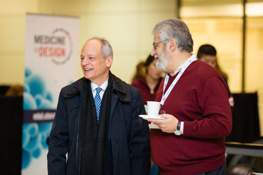 University of Toronto President Meric Gertler talks with Medicine by Design Executive Director Michael Sefton.