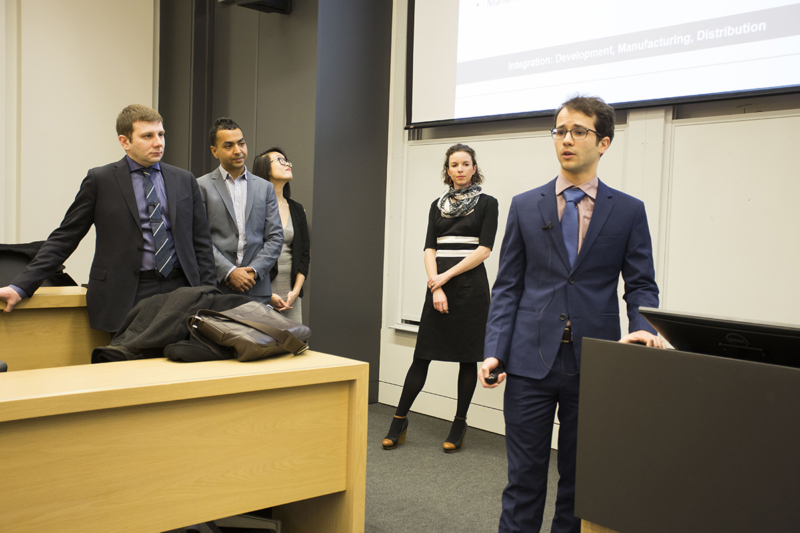 Photo of study lead author Yonatan Lipsitz and other students giving a presentation in 2017.