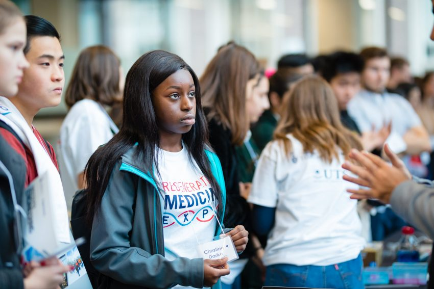 High school students and their teachers from across the Toronto area attending the Medicine by Design's second annual Regenerative Medicine Expo