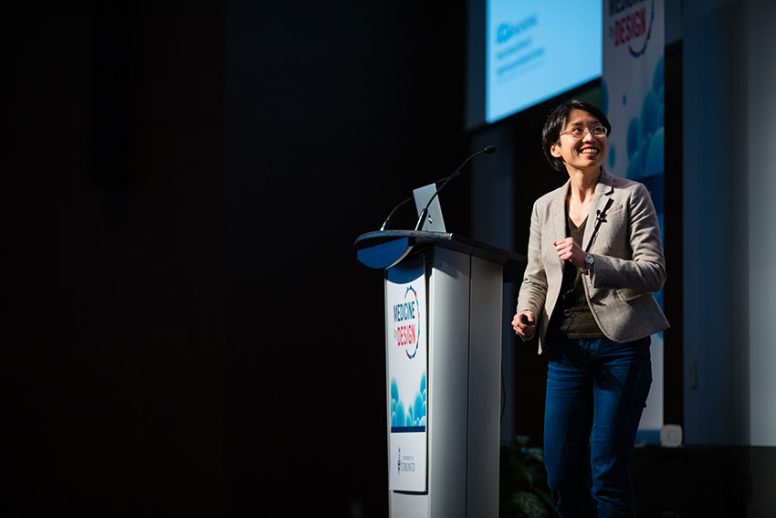 Invited speaker Yvonne Chen from the University of California, Los Angeles, delivers her talk.