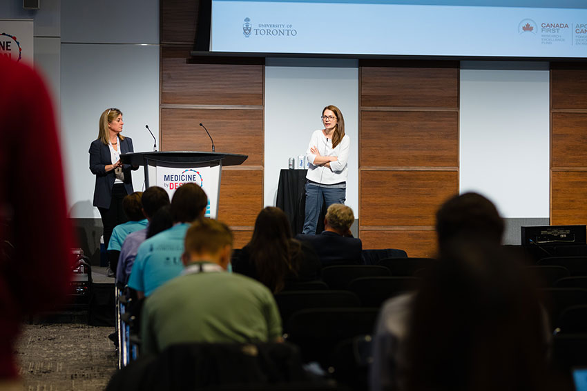 Sarah Crome (right), a Medicine by Design Investigator at University Health Network, answers questions while moderator Melanie Woodin looks on.