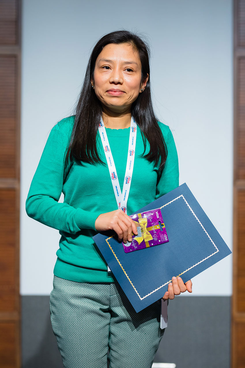 Suja Shrestha from Paul Santerre's Lab won first place in the poster competition.