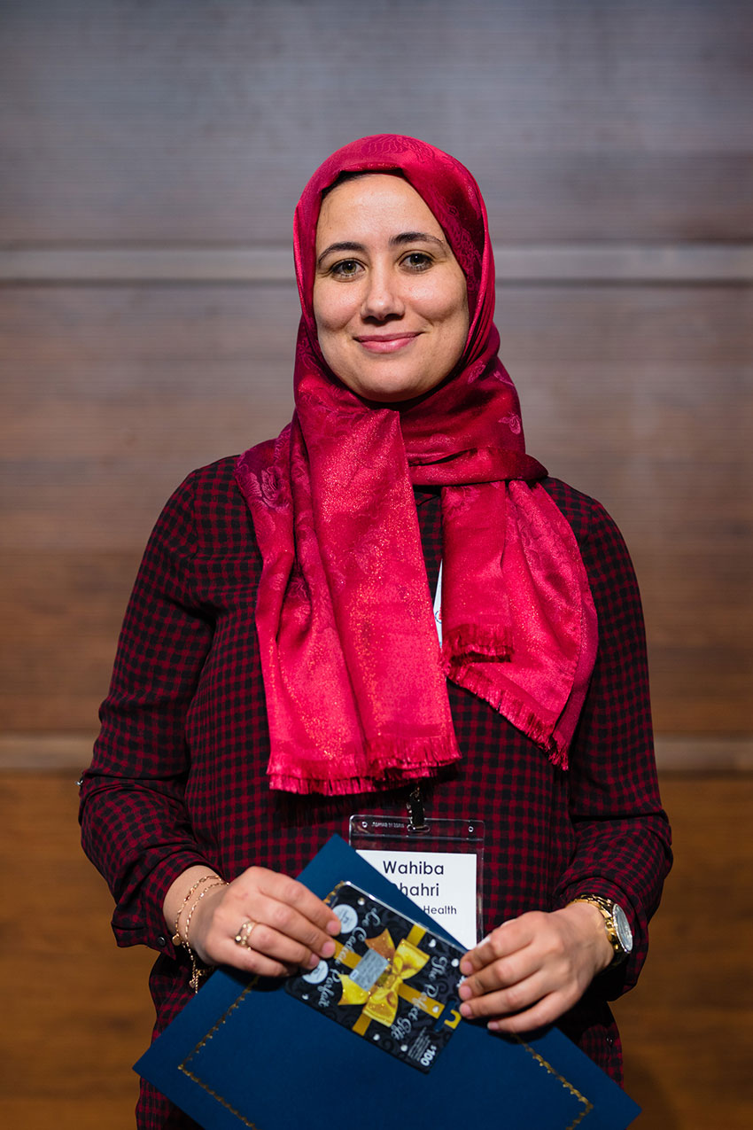 Wahiba Dhahri from Michael Laflamme's lab tied for second place in the poster award competition.