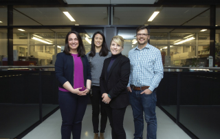 The U of T members of the interdisciplinary team (from left to right): Peivand Sadat Mousavi, Jenise Chen, Shana Kelley and Keith Pardee (photo by Steve Southon)