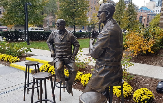 Statue of Ernest McCulloch and James Till outside the MaRS Centre in Toronto.